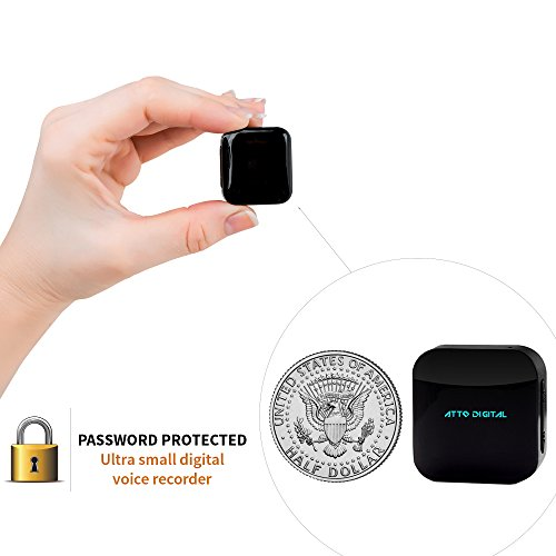 Mini Voice Recorder - Voice Activated Recording - 286 Hours Recordings Capacity - 24 Hours Battery Life - Password Protection - Audio Bug Device