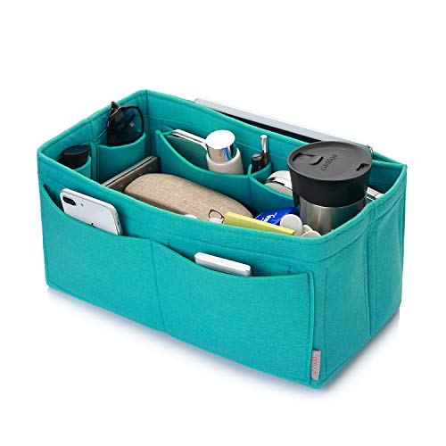 Felt Purse Organizer, Multi Pocket Bag in Bag Organizer For Tote & Handbag Shaper, Speedy 30, Speedy 35 and Speedy 40, Medium, Large, Extra Large (Large, Tiffany Blue) (Gucci Shopper Tote)