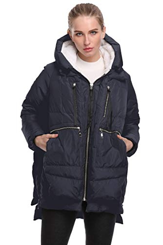 FADSHOW Women's Winter Down Jackets Long Down Coats Warm Parka with Hood,Deep Blue,2XL