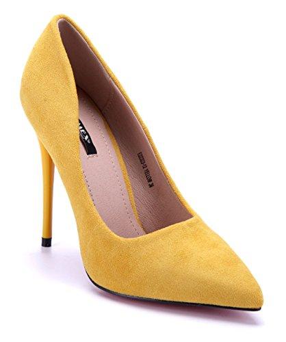 Schuhtempel24 Damen Schuhe Klassische Pumps Stiletto 12 cm High Heels Gelb