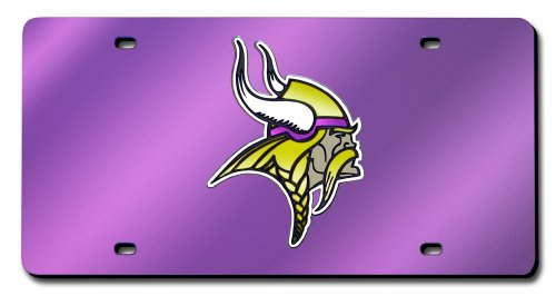 Minnesota Vikings Laser Inlaid Metal License Plate Tag (Minnesota License Plate Tag)