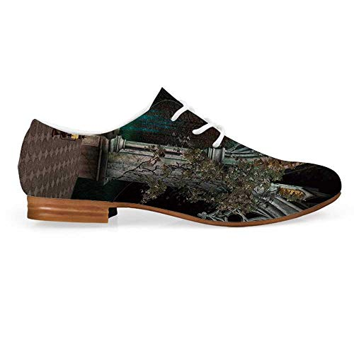 Gothic Leather Oxfords Lace Up Shoes,Mystical Patio with Enchanted Wishing Well Ivy on Antique Gateway to Magical Forest Bootie for Girls ladis Womens,US 7