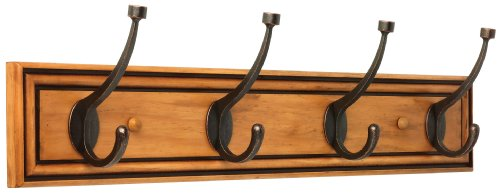 Liberty 129846 27-Inch Galena Hook Rail/Coat Rack with 4 Pilltop Hooks, Honey Maple and Statuary Bronze