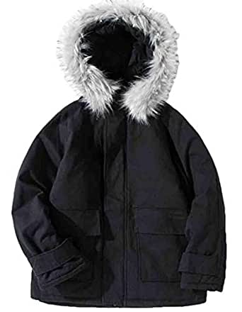 Wan-T Men Hooded Faux Fur Collar Quilted Padded Winter