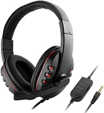 Homyl ヘッドセット ステレオ サウンド PC ゲーム用 3.5mm マイク付き コンパクト 赤