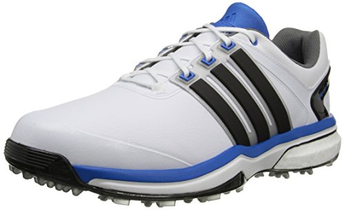 adidas Men's Adipower Boost Golf Shoe, Running White/Core Black/Bahia Blue, 10 E US