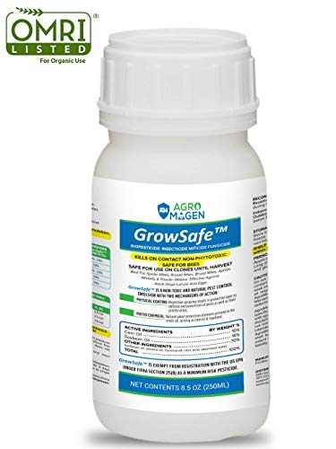 GrowSafe Bio-Pesticide Organic All-Natural miticide, Fungicide Insecticide. Better & Safer Than Neem Oil for Plants,Non-Toxic,Control Spider Mites & Powdery Mildew.Non-Phytotoxic,Concentrate (8.5oz)
