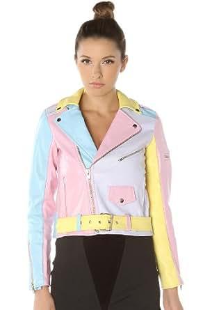UNIF Women's Pastel Moto Jacket Medium Multi