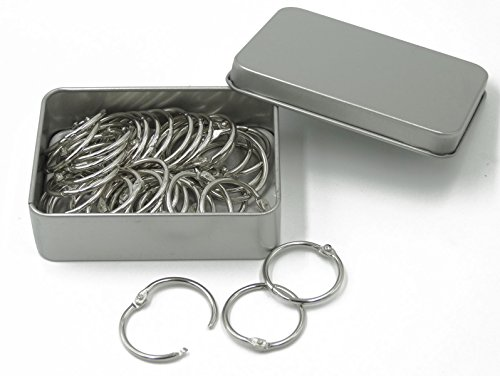 Shapenty 1 Inch Diameter Nickel Plated Metal Paper Book Loose Leaf Binder Ring Keychain Key Ring, 50PCS/Box ()
