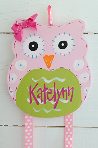 Personalized Hair Bow Holder- Pink Owl ()