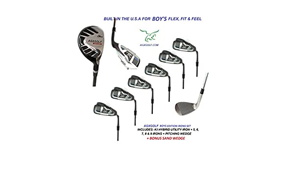 Amazon.com : AGXGOLF Boys Magnum All Graphite Series Irons Set: w/ 3 Hybrid + 5, 6, 7, 8 & 9 Irons + PW + Bonus Sand Wedge: All Sizes: Built in the U.S.A. ...