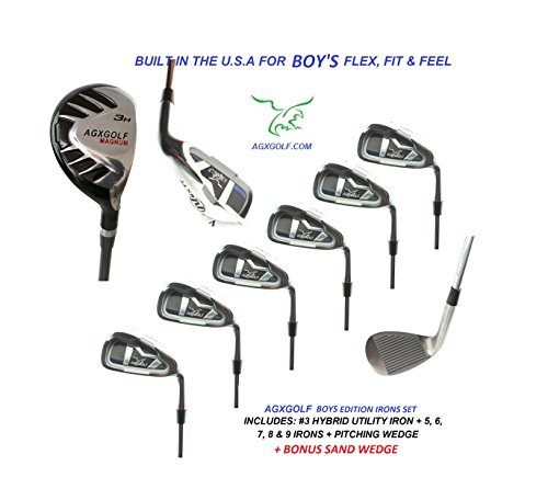 AGXGOLF Boy's Right Hand Magnum Series Irons Set: w #3 Hybrid + 5, 6, 7, 8 & 9 Irons + PW + Bonus Sand Wedge: All Sizes: Built in the U.S.A. (Kids Us Series Tour)