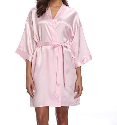 - ANDOLLY Bridesmaid Robe Satin Kimono Bridal Robe Solid Color Short Bathrobe