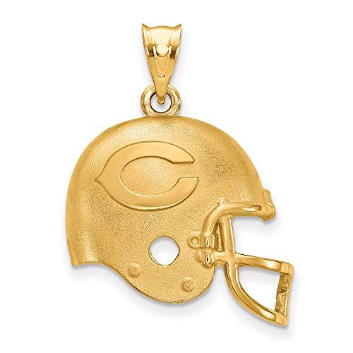 (NFL Sterling Silver Gold-plated LogoArt Chicago Bears Helmet Pendant)
