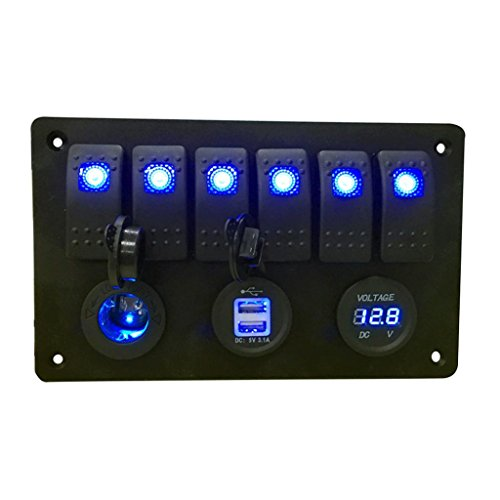 Rocker Switch Panel,Swizze Water-resistant 6 Gang LED Digital Boat Marine CarSwitch Double USB Cigarette Lighter Socket Power Plug Charger Adapter Voltmeter, Auto Control Switch Panel Circuit Breaker
