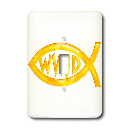3dRose lsp_41767_1 Christian Fish Symbol Wwjd (Gold) Single Toggle Switch