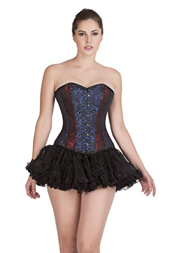 学習者状況チューインガムRed Blue Black Brocade Goth Burlesque Waist Training Bustier Overbust Corset Top