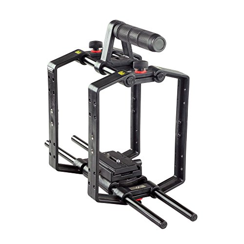 FILMCITY 9'' Lightweight Cube Camera Cage with Quick Release Top Handle for DSLR Video Camcorder (FC-CU-9) | Includes 15mm Rod Support Stabilizer System with Tripod Mount Plate by FILMCITY