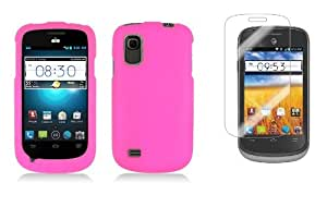 ZTE Prelude (AT&T) - Premium Accessory Kit - Hot Pink Hard Shell Case Shield Cover + ATOM LED Keychain Light + Screen Protector
