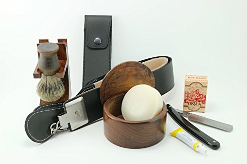 9 Piece Wood Deluxe Straight Razor Shaving Set : 5/8'' Black Razor, Pure Badger Brush,Stand, Strop, Leather Case, Paste, Shaving Soap, Bowl & Osma Block (Hollow Deluxe Handle)