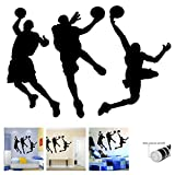"""great sports wall decals Amaonm 31.5"""" x 53.1"""" Removable DIY Vinyl Three Basketball Players Slam Dunk Silhouette Wall Decals Spoting Basketball Duck Layup Sporter Wall Sticker for Kids Room Boys Bedroom Classroom (Black)"""