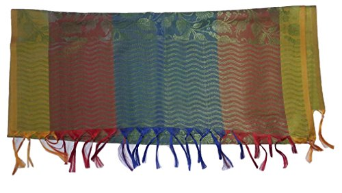 KVR Indian Party Jacquard Handloom Woven Women Polyester Silk Banarasi Scarf Fashion Vintage Elegent (Stripe Ascot Valance)