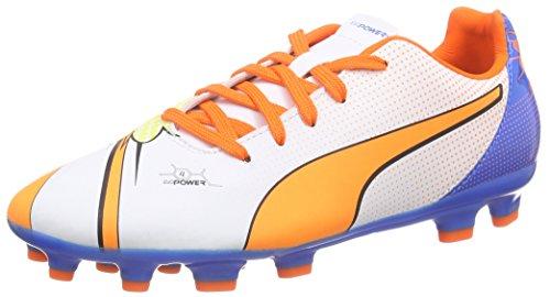 Puma evoPOWER 4.2 POP AG Jr - zapatillas de fútbol de material sintético Niños^Niñas blanco - Weiß (white-orange clown fish-electric blue lemonade 01)