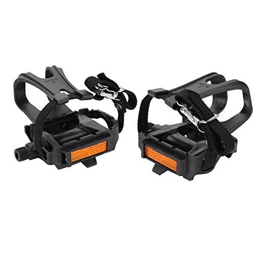 Bicycle Pedals with Toe Clip & Straps, 1 Pair Nylon Cycling Pedals with Integrated Toe Clips Cages Straps for Outdoor Fixie Mountain Bikes Road Bike and Indoor