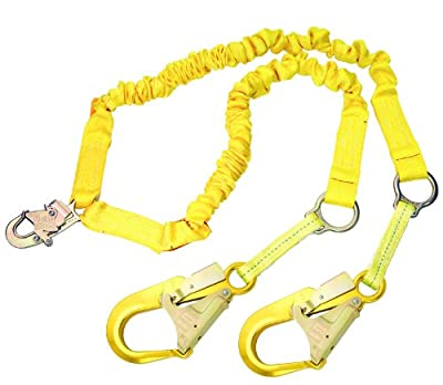 3M DBI-SALA ShockWave2 1244751 Shock Absorbing Rescue Lanyard, 6', Elastic Web, Snap Hook At Center, D-Rings For Rescue,Alum Rebar Hooks At Leg Ends, Yellow