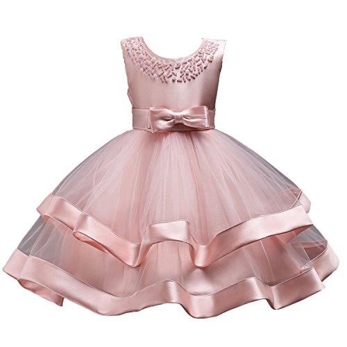 Elegant Girl Dress Kids Ruffles Lace Party Wedding Dresses 4-5 Years Pink Bowknot Birthday Tulle Dresses for Graduation Formal Event