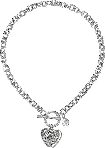 (GUESS Women's Logo Overlay On Pave Heart Charm Toggle Front Necklace Silver/Crystal One Size)