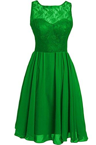 con da Ivydressing in svasato a da chiffon maniche senza Vestito Verde girocollo sera donna scollatura pizzo ttBqnOFw