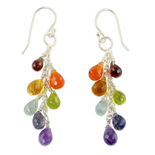 NOVICA Rainbow Multi-Gem Cluster Earrings with Sterling Silver Hooks, Vibrancy'