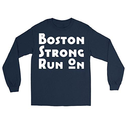 DoozyGifts99 Boston Strong Marathon Run On - Runners Gift Long Sleeve (Nav Man Gps)