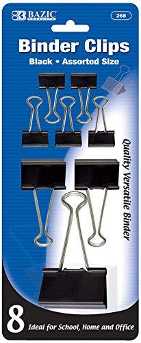 BAZIC Assorted Size Black Binder Clip (8/Pack) 144 pcs SKU# 1930472MA