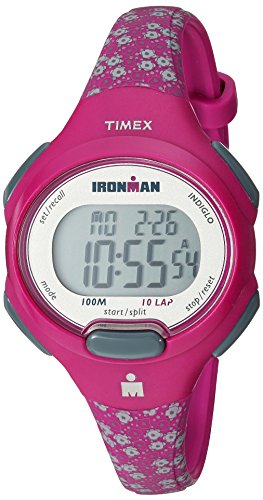 Timex Women's TW5M07000 Ironman Essential 10 Mid-Size Pink Floral Resin Strap Watch