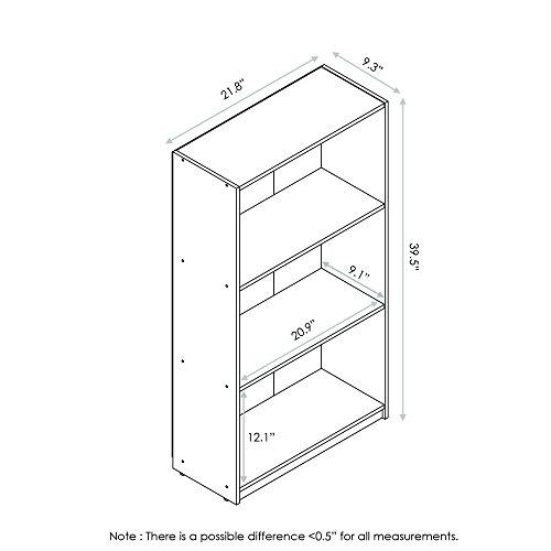 Furinno 99736CWN Basic 3-Tier Bookcase Storage Shelves, Columbia Walnut by Furinno (Image #1)