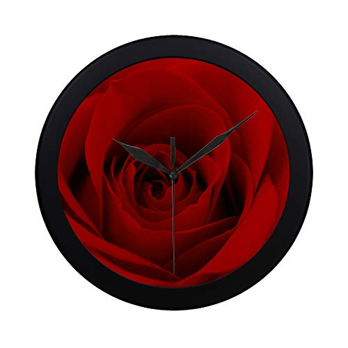 DKGFNK Modern Simple Close Up Photo of Red Rose Flower Pattern Wall Clock Indoor Non-Ticking Silent Quartz Quiet Sweep Movement Wall Clcok for Office,Bathroom,livingroom Decorative 9.65 Inch