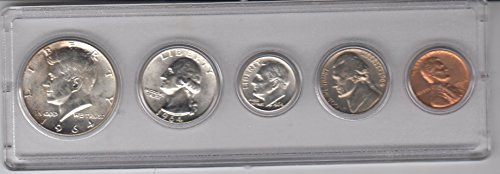 1964 Birth Year Coin Set (5) Coins - Silver Half dollar, Silver Quarter, Silver Dime, Nickel, and Cent All Dated 1964 and Encased in Plastic Display Case Uncirculated