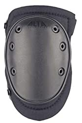 Alta 50413 Altaflex Knee Protector Pad, Black Cordura Nylon Fabric, Altalok Fastening, Flexible Cap, Long, Black