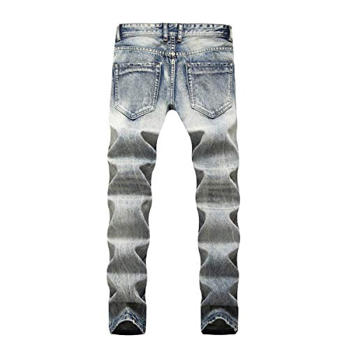 Slim Abbigliamento Pantaloni Retro Media In Moda Fit Stretch Da Jeans Casual Denim Blu Dritti Vita A Uomo zwFxOzfq