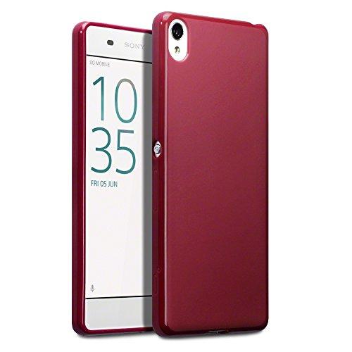 Terrapin TPU Gel Skin Case/Cover und gehärtetem Glas Displayschutzfolie für Sony Xperia XA–matt rot