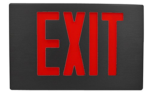 Black Aluminum Exit Sign with Red LED Letters