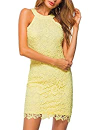 Women's Casual Sleeveless Halter Neck Party Lace Mini Dress