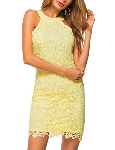 Lamilus Women's Summer Backless Halter Neck Lace Mini Short Casual Shift Dress,Yellow,Small