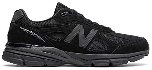 New Balance Men's 990v4 Running Shoe, Black/Grey, 11 2E US