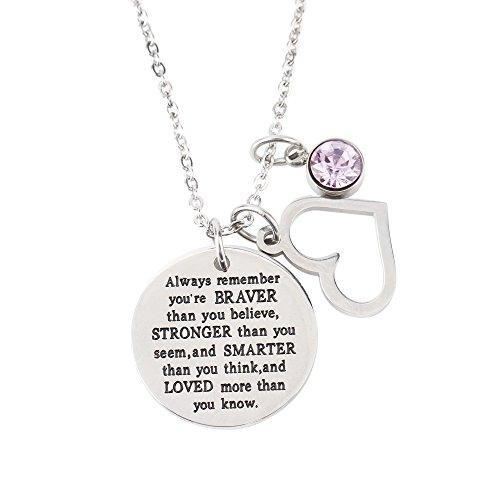 wugouming You are Braver Than You Believe Inspirational Necklace with Birthstone Gift Women Girl (LightAmethyst-June)