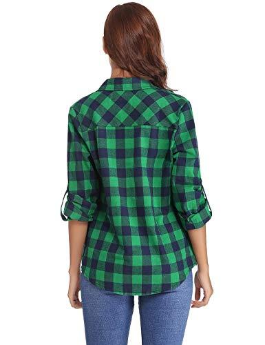 Blusa Cuadros Camisa Aibrou Mujer Bot Blusa Con A Elegante tqFtEw7v1
