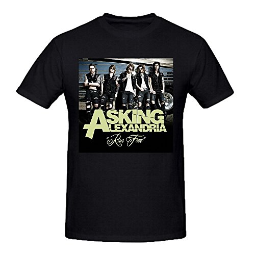 Asking Alexandria Run Free Shirts 100 Cotton Men Round Neck Black (La Alexandria Shops Flower)