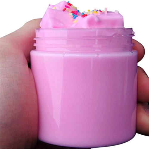 ZLOSKW Fluffy Slime - Fruit Coconut Mud Mixing Cloud Slime Squishy Putty Scented Stress Kids Clay Toy, 4 Colors (Pink) (1 Cloud)